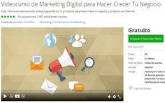 Excelente Curso gratuito de Marketing Digital que te enseñará cómo puedes hacer crecer a tu Negocio en la red. Compuesto por un total de 82 clases en vídeo.