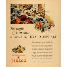 Amazon.com: 1930 Ad Texas Texaco Asphalt Pave Petroleum Traffic - Original Print Ad: Home Color Grading, Texaco, Pavement, Print Ads, Vintage Advertisements, Interstate 5, Advertising, History, The Originals
