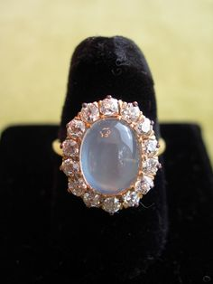 Antique Victorian Diamond and Moonstone Ring, $2,250.00, rubylane.com