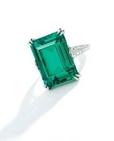 Lot 160. ColombianEmerald and Diamond Ring, Tiffany & Co., circa 1920.Estimate $300,000—400,000.Lot...