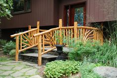 'Gold Entrance Rails'  - Built in Woodstock, NY in 2008 using stripped Eastern Red Cedar trees.