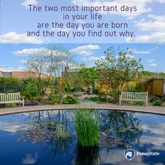 """""""The two most important days in your life are the day you are born and the day you find out why."""" Some say Mark Twain is to thank for this inspirational quote. Image: the Arboretum at Penn State. Mark Twain, Brighten Your Day, Two By Two, Encouragement, Inspirational Quotes, Sky, Outdoor Decor, Image, Blue"""