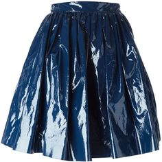 MSGM Pleated a-Line Skirt ($105) ❤ liked on Polyvore featuring skirts, bottoms, blue, blue pleated skirt, msgm, a-line skirt, pleated skirt and knee length a line skirt