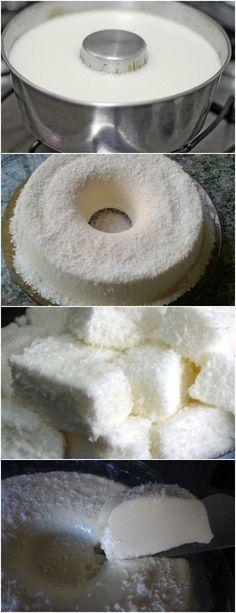 SE MARIA MOLE JÁ É UMA DELICIA IMAGINE ESSE PUDIM!! VEJA AQUI>>>Bata no liquidificador o creme de leite e o leite condensado Dissolva o pó da maria-mole em um copo de água fervente e reserve #receita#bolo#torta#doce#sobremesa#aniversario#pudim#mousse#pave#Cheesecake#chocolate#confeitaria