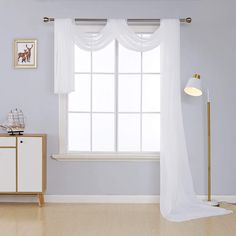 Deconovo Sheer Curtains - CountryCurtains Scarf Curtains, Curtains 1 Panel, Window Scarf, Voile Panels, Grommet Curtains, Sheer Valances, White Sheer Curtains, Elegant Home Decor, Elegant Homes