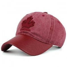 Maple Leaf Letters Embroidery Baseball Cap - RED