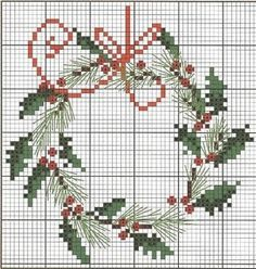 unique and beautiful cross stitch Christmas wreath