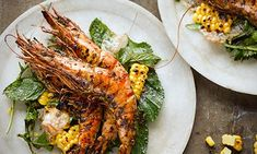 Yotam Ottolenghi's grilled prawns w/ herb salad + tamarind dressing [Photograph: Colin Campbell for the Guardian]