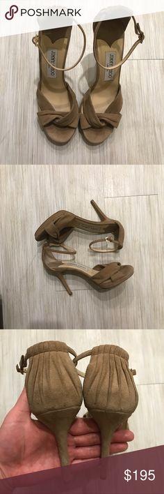"Jimmy Choo 4"" Heels Suede Jimmy Choo 4"" Heels Tan Suede. This was worn once for a wedding. No trades Jimmy Choo Shoes Heels"