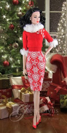 """SCARLET SNOWFLAKE Sweater Set for 11"""" - 12"""" dolls                                                                                                                                                                                 More"""