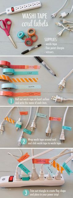 :: Washi tape cord labels!