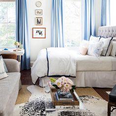 Pale blue curtains.