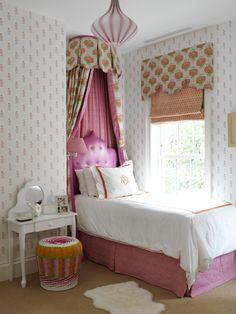 West Village Townhouse   Elizabeth Bauer Design bed valance girls room Ridder fabric