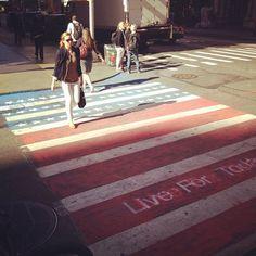 New York City Crosswalks Turned American Flags for 9/11