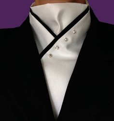 White Stock Tie with Black Trim by BadHabitStockTies on Etsy
