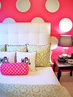 Like the paint! Maybe do each wall a different color but keep the white polka dots going throughout the whole thing.