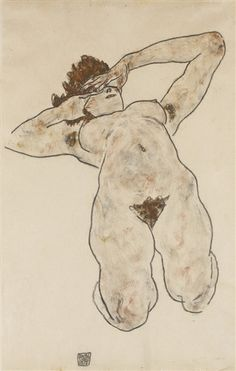 Artwork by Egon Schiele, AKT (NUDE), Made of charcoal and gouache on paper