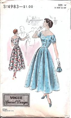 1940s Womens Evening Dress  Vogue Special Design 4983 from ErikawithaK Vintage