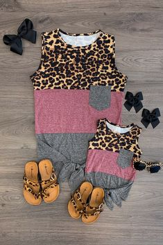 Mom & Me - Cheetah, Burgundy, & Gray Tie Tank Twin Outfits, Mommy And Me Outfits, Cute Outfits For Kids, Matching Outfits, Toddler Outfits, Little Boy Fashion, Baby Girl Fashion, Cute Baby Clothes, Pink