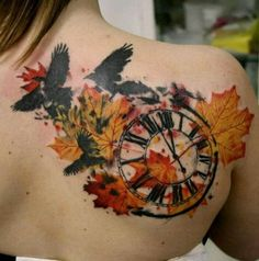 Watercolor Clock In Fall Leaves Tattoo on Back Shoulder by Timur Lysenko