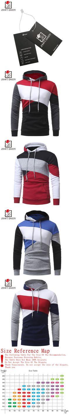 Johns 2017 New Fashion Hoodies Brand Men Multi-Color Stitching Sweatshirt Male Hoody Hip Hop Autumn Winter Hoodie Mens Pullover