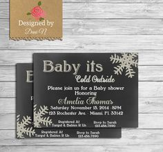 New to DesignedbyDaniN on Etsy: Baby shower invite glitter baby shower invitation printable baby its cold outside white teal chalkboard (11.99 USD)