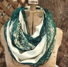Jade green vintage lace infinity scarf by PaleDesign on Etsy, $29.00