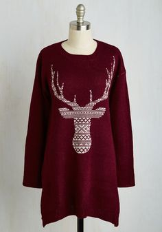 Take Your Woods for It Sweater. Friends will totally believe you when you say this burgundy sweater is your fave. #red #modcloth