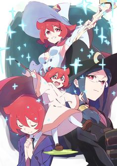blue_hair boots breasts cape dress glasses hat highres little_witch_academia long_hair open_mouth red_eyes redhead shiny_chariot skirt smile tama uniform ursula_charistes witch witch_hat Little Wich Academia, My Little Witch Academia, Otaku Anime, Manga Anime, Anime Art, Magical Girl, Lwa Anime, Character Art, Character Design