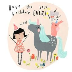The ideal card to send birthday wishes to little ones who love Unicorns! Card is left blank for your own message and comes with its own envelope. Printed and designed in the UK by Sooshichacha. Birthday Wishes Quotes, Happy Birthday Messages, Happy Birthday Images, Happy Birthday Greetings, Birthday Pictures, Happy Birthday To You, Happy Birthday Funny, Funny Birthday Cards, Card Birthday