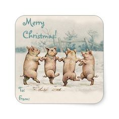 "Cute Funny Dancing Pigs ""Merry Christmas"" Package Sticker"