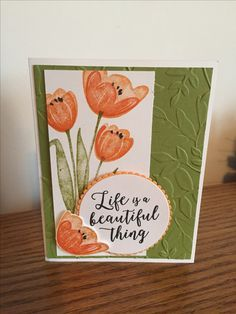 Today's post is a sneak peak of one of the cards that will be made at my New catalog Open House next week. I love these tulips, they are the new Tranquil Tulips and are… Card Making Inspiration, Making Ideas, Stampin Up Karten, Embossed Cards, Stamping Up Cards, Mothers Day Cards, Scrapbook Cards, Scrapbooking, Paper Cards