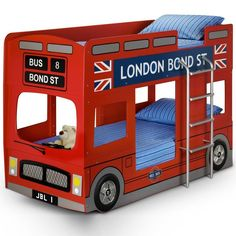 London Bus Bunk Bed by Julian Bowen. The iconic London Bus Bunk Bed design has been transformed into a fun sleeping solution for any child's bedroom. Bus Bunk Bed is a great option due to the due to Bunk Bed Safety Regulations Childrens Bunk Beds, Kids Bunk Beds, London Bus, Single Bunk Bed, Wooden Bunk Beds, Bunk Bed Designs, Red Bedding, Chic Bedding, Boho Bedding