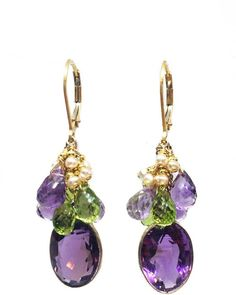 """Melinda Lawton Jewelry Amethyst Peridot Earrings - Beautiful large faceted oval, gold-wrapped Amethyst gemstones hang from a cluster of AAA quality Amethyst and Peridot faceted briolettes accented by tiny akoya keshi Pearls! These earrings measure 1.25"""" from the bottom of the 14K GF leverback earwires. - $337.87"""
