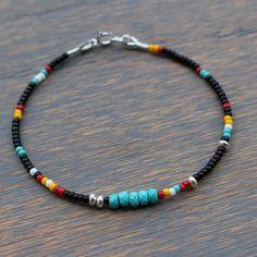 Turquoise Bracelet, Boho Chic Beaded Bracelet, Tribal Bracelet, Black and Tur … Tribal Bracelets, Seed Bead Bracelets, Seed Bead Jewelry, Ankle Bracelets, Boho Jewelry, Beaded Jewelry, Jewelery, Handmade Jewelry, Beaded Necklace