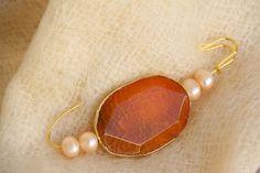 spilla grande perle di fiume agata hand made