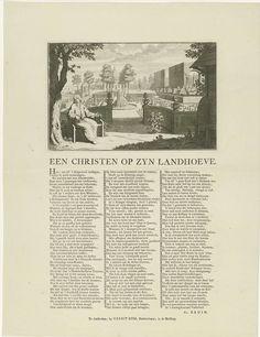 Jan Caspar Philips | Een man in zijn tuin, Jan Caspar Philips, 1736 - 1775 | Gezicht op een Franse tuin waarin tuinmannen aan het werk zijn en een landhuis. Op de voorgrond een man, wijzend op een rozenstruik, een verwijzing naar Maria die vrij was van zonden. Rechts op de voorgrond twee bijenkorven en links op de voorgrond mieren die uit een boomstam kruipen, als verwijzing naar het deugdzame, vlijtige leven van de man. Onder de voorstelling, in drie kolommen, een gedicht in het Nederlands.