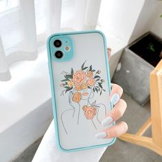 Line Art Sketch Flower Girl iPhone Case - iphone 12 pro max / Line Art - Style 4