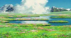 Пейзажи неповторимого Хаяо Миядзаки Хаяо Миядзаки, рисунок, волшебник, пейзаж, япония, длиннопост, Ходячий замок Хаула, аниме