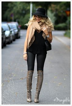 SIMPLE AND ELEGANT. Her Boots are Everythig!!