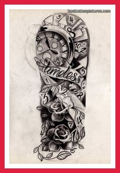 "tattoo designs Half sleeve with ""Time waits for no one..."" Instead of Timeless"