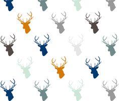 Navy & Orange Deer with Gray by mrshervi