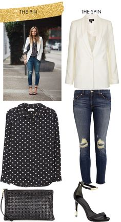 equipment black and white polka dot top (budget friendly version) | topshop ivory blazer | topshop black clutch | rag & bone distressed skinny jeans | rachel roy sandals (budget version here)