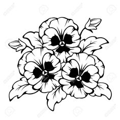 Illustration of Vector black contour of pansy flowers isolated on a white background. vector art, clipart and stock vectors. Flower Pattern Drawing, Flower Patterns, Drawing Flowers, Pansy Tattoo, Free Adult Coloring Pages, Clipart Black And White, Black White, Flower Clipart, Painting Patterns