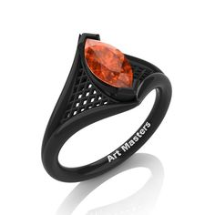French 14K Black Gold 1.0 Carat Marquise Orange by artmasters THIS IS HALLOWEEN
