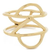 Odette New York Crescent Cage Ring ($140) ❤ liked on Polyvore featuring jewelry, rings, gold, geometric jewelry, hammered ring, odette, cutout ring and cage ring