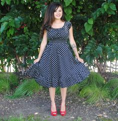 Womens Plus Size Dress BLACK Polka Dot Rockabilly Retro style. $38.00, via Etsy. Big beautiful curvy women, real sizes with curves, accept your body sizes, love yourself no guilt, plus size, Fashion, pin up, Fragyl Mari sees your fabulousness!
