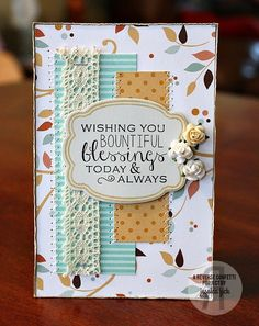 Card by Jessica Fick. Reverse Confetti stamp set and coordinating Confetti Cuts: Give Thanks. Blessings. Gratitude card.