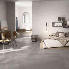 Downtown Light Grey Concrete Effect Floor Tile 600 x Best Flooring, Grey Flooring, Flooring Options, Bedroom Colors, Bedroom Decor, Bedroom Ideas, Concrete Look Tile, Cement, Gray Interior