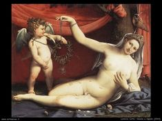 VENUS AND CUPID, by Lorenzo Lotto, Italian Renaissance painting, oil on canvas. This work was painted to celebrate a wedding, with Venus' features possibly those of the bride. Venus has rose Images Vintage, Roman Mythology, Classical Mythology, Italian Painters, Italian Renaissance, Italian Art, Michelangelo, Metropolitan Museum, Les Oeuvres